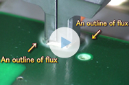 Slow motion for atomized flux (for spreading)