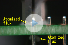 Slow motion for atomized flux (for through-hole)